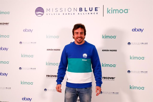 Fernando Alonso attends during the presentation of the Kimoax Mission Blue Project with Jesus Calleja as moderador and the artists Okuda and Edgar Plans at Ebay building in Madrid, Spain, on October 21, 2019