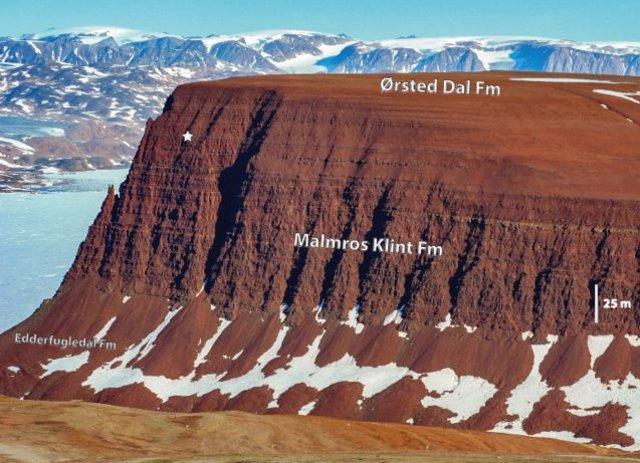 Un acantilado en Jameson Land Basin en el centro de Groenlandia oriental, el sitio más al norte donde se encuentran fósiles de sauropodomorfos.