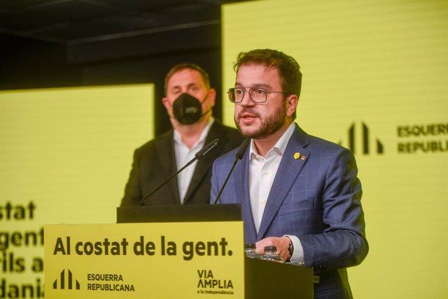 El candidat d'ERC a la presidència de la Generalitat i vicepresident en funcions, Pere Aragonès
