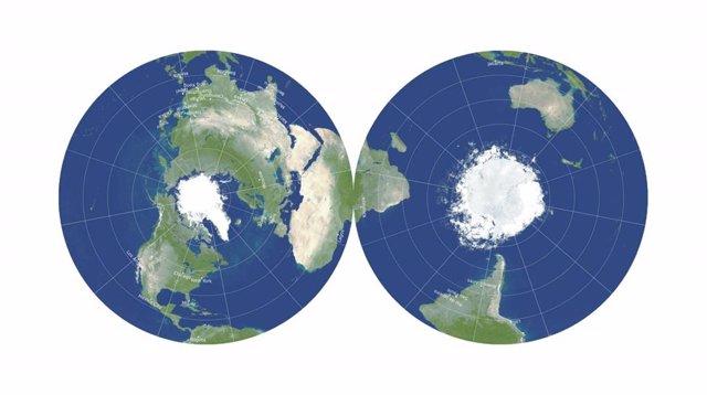 El revolucionario mapa de disco de doble cara minimiza los seis tipos de distorsiones del mapa.