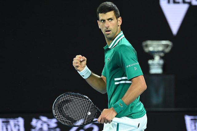 Novak Djokovic of Serbia reacts during his Men's Quarter finals singles match against Alexander Zverev of Germany on Day 9 of the Australian Open at Melbourne Park in Melbourne, Tuesday, February 16, 2021. (AAP Image/Dave Hunt) NO ARCHIVING, EDITORIAL USE