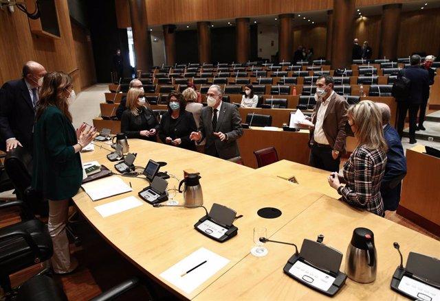 Miembros de la Comisión de Sanidad durante una Comisión de Sanidad y Consumo celebrada en la Sala Ernest Lluch del Congreso de los Diputados, en Madrid, (España), a 16 de febrero de 2021.