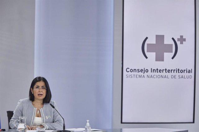 La ministra de Sanidad, Carolina Darias comparece en rueda de prensa tras la reunión del Consejo Interterritorial del Sistema Nacional de Salud, en Madrid (España) a 3 de febrero de 2021.
