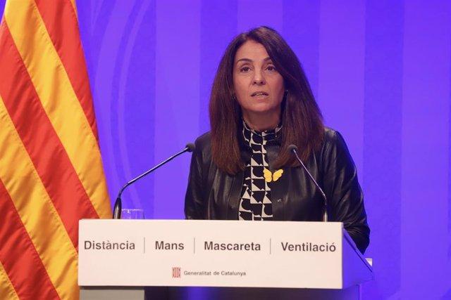 La consellera de Presidència y portaveu del Govern, Meritxell Budó, en una roda de premsa telemàtica.