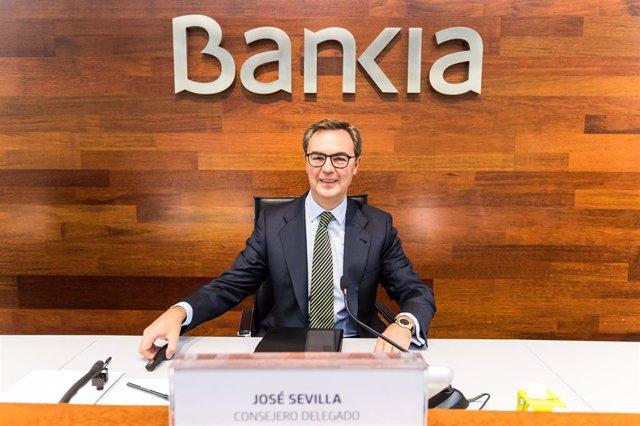 El consejero delegado de Bankia, José Sevilla, en la presentación de resultados del tercer trimestre de 2020.