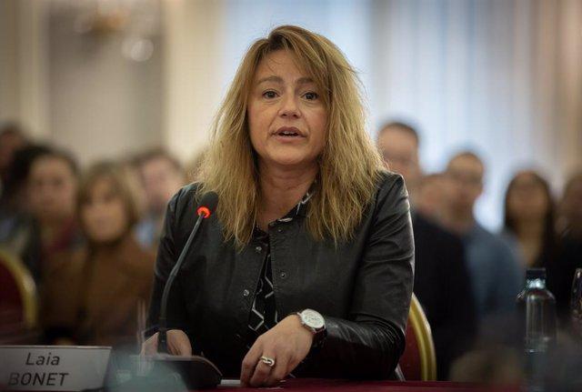 La tercera tinent d'alcalde de l'Ajuntament de Barcelona, Laia Bonet, durant la jornada del Cidob 'War & Peace in the 21st Century, a Barcelona (Espanya), 18 de gener del 2020