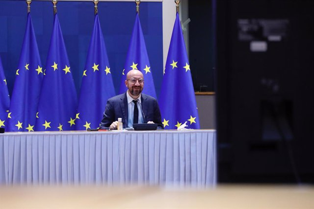 HANDOUT - 11 February 2021, Belgium, Brussels: European Council President Charles Michel attends a video-conference meeting with inter-institutional actors at the European Council headquarters in Brussels. Photo: Dario Pignatelli/European Council/dpa - AT