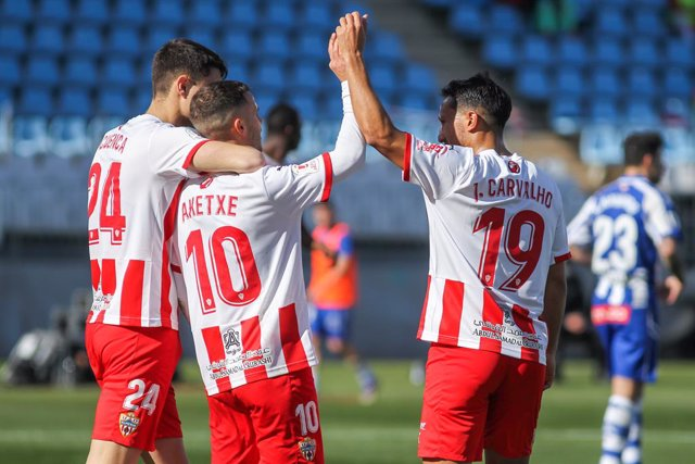 Jorge Cuenca, Ager Aketxe and Joao Carvalho of UD Almeria celebrates an own goal scored by Juan Villar Vazquez of Deportivo Alaves (out of photo) during the spanish cup, Copa del Rey round of 32, football match played between UD Almeria and Deportivo Alav