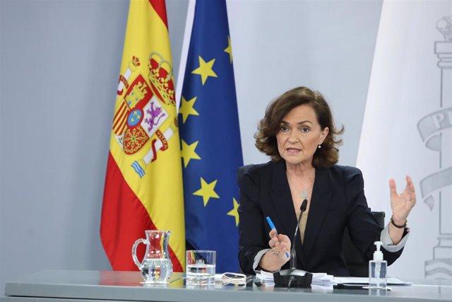 La vicepresidenta primera y ministra de Presidencia, Relaciones con las Cortes y Memoria Democrática, Carmen Calvo