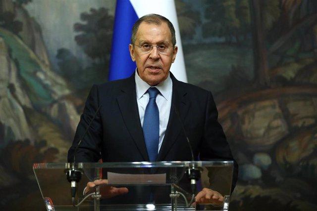 Sergei Lavrov, en una comparecencia ante la prensa en Moscú