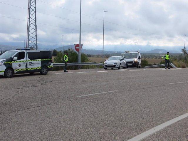 Control de la Guardia Civil en el punto por el que el detenido accedió a la autovía