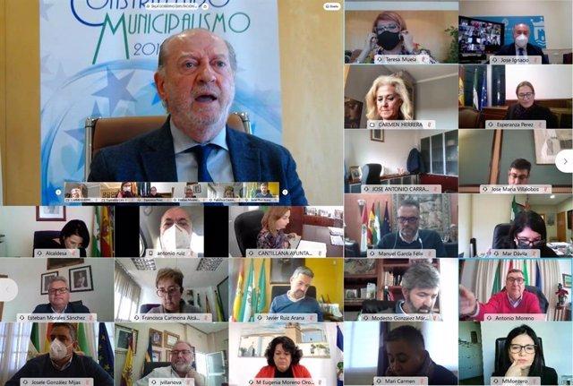 El presidente de la FAMP, Fernando Rodríguez Villalobos, en una imagen de 8 de febrero, en una reunión telemática de órganos de gobierno de la federación.