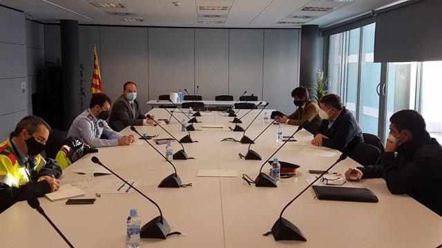 Reunió del conseller Miquel Sàmper amb la cúpula dels Mossos d'Esquadra.