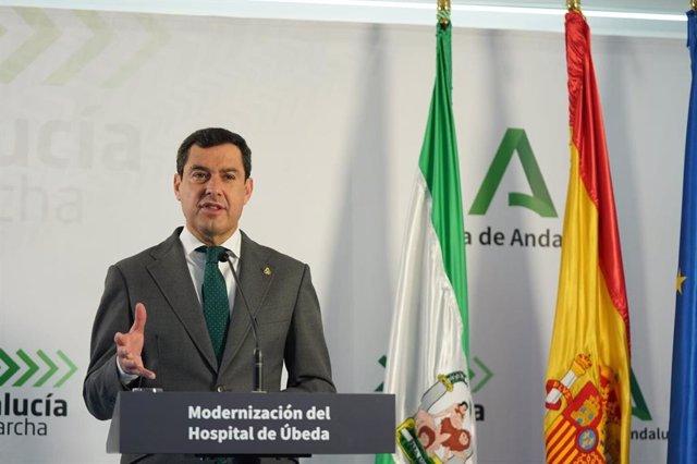 """Moreno, sobre la marcha del PP de Génova: """"Esa es una decisión de la dirección nacional que yo respeto"""""""