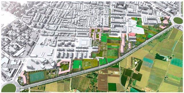 Imagen de la alternativa planteada por Compromís València para la revisión del PAI de Benimaclet.