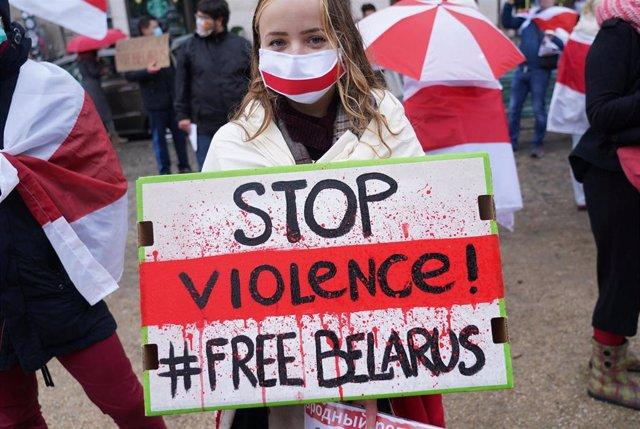 Archivo - Imagen de archivo de una protesta contra la represión en Bielorrusia en Berlín.
