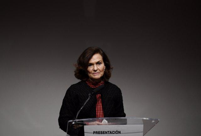 La vicepresidenta primera del Gobierno, Carmen Calvo, durante la inauguración de la I Jornada de CIMA IMPULSA