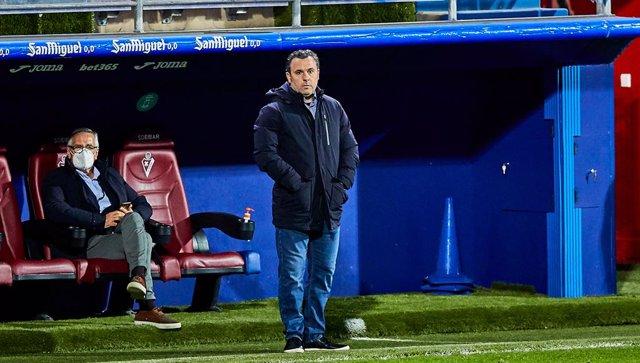 Sergio Gonzalez Soriano, coach of Real Valladolid CF, during the Spanish league, La Liga Santander, football match played between SD Eibar SAD and Real Valladolid CF at Ipurua stadium on February 12, 2021 in Eibar, Spain.