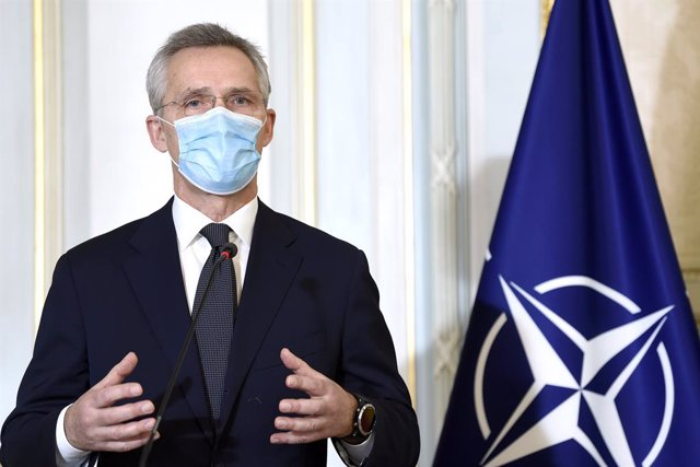 04 February 2021, Belgium, Brussels: The North Atlantic Treaty Organization (NATO) Secretary General Jens Stoltenberg speaks during a press conference with Belgian Prime Minister Alexander De Croo (Not Pictured) after their meeting at the NATO-headquarter