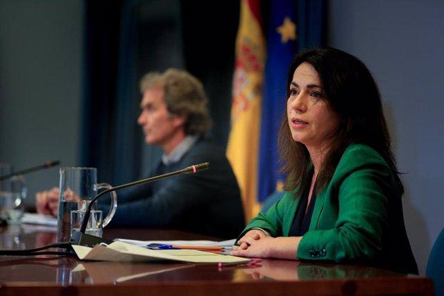 La secretaria de Estado de Sanidad, Silvia Calzón durante una rueda de prensa convocada ante los medios de comunicación en el Ministerio de Sanidad para informar sobre la evolución del coronavirus, en Madrid, (España), a 11 de febrero de 2021.