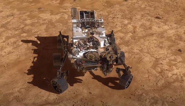 Ilustración artística del rover Perseverance nada más llegar a Marte