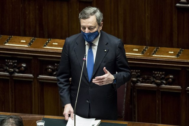 18 February 2021, Italy, Rome: Italy's Prime Minister Mario Draghi speaks during a confidence vote on his government at the lower Chamber of Deputies. Photo: Roberto Monaldo/LaPresse via ZUMA Press/dpa
