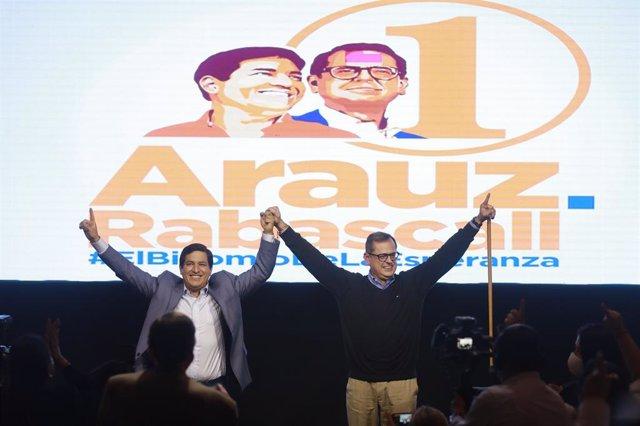 Imagen de archivo de la campaña electoral de Andrés Arauz.