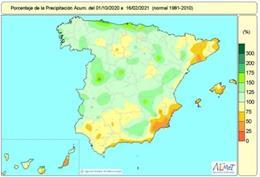 Mapa de lluvias acumuladas en el conjunto de España desde el 1 de octubre de 2020 hasta el 16 de febrero de 2021.