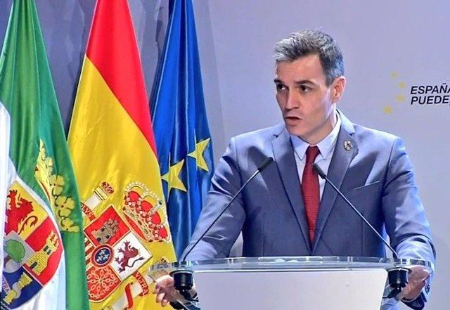 El presidente del Gobierno, Pedro Sánchez, presenta el Plan de Recuperación en Mérida