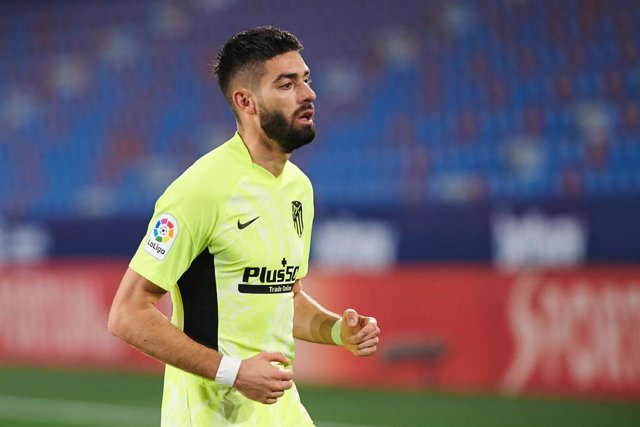 Yannick Carrasco of Atletico de Madrid  during the La Liga mach between Levante and Atletico de Madrid at Estadio Ciutat de Valencia on 17 February, 2021 in Valencia, Spain