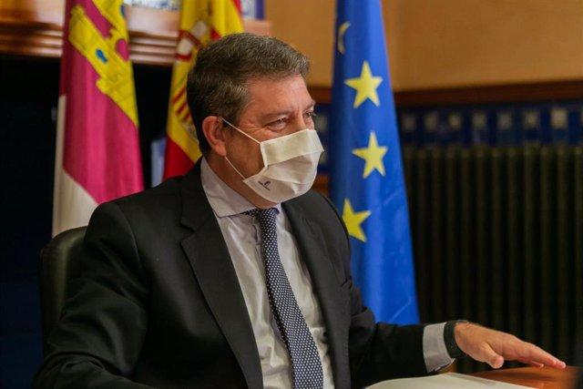 El presidente de Castilla-La Mancha, Emiliano García-Page, asiste en la Delegación de la Junta en Ciudad Real, a la reunión sobre el Plan de Modernización de Ciudad Real 2025.