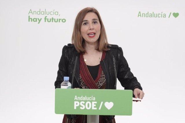 Imagen de este viernes de la rueda de prensa de la diputada del PSOE y portavoz de Educación, Beatriz Rubiño.