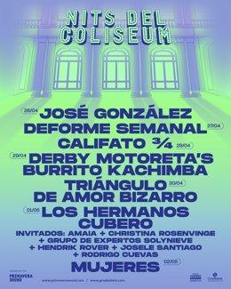 Cartel del ciclo Nits del Coliseum de Primavera Sound en el Teatre Coliseum de Barcelon
