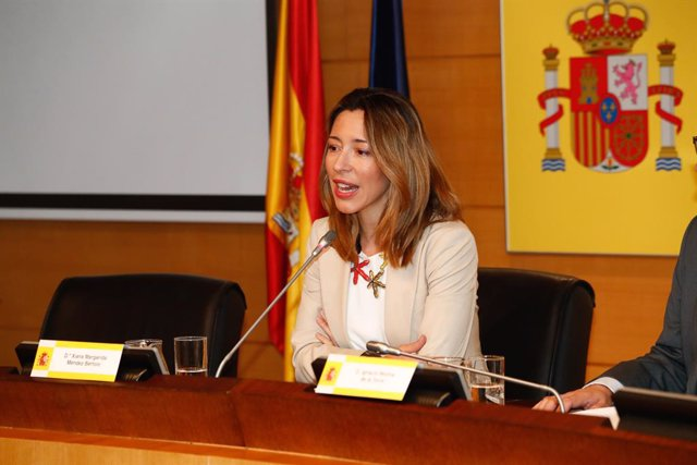 Archivo - La secretaria de Estado de Comercio, Xiana Méndez, interviene durante la presentación de la revista 'Información Comercial Española' en el Ministerio de Industria.