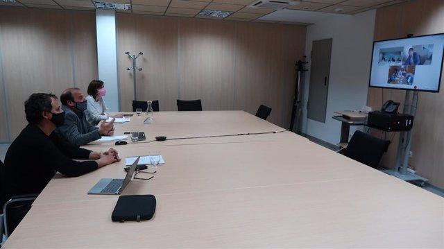 El conseller de Medio Ambiente y Territorio del Govern balear, Miquel Mir, durante una reunión telemática con el consejero canario de Transición Ecológica, Lucha contra el cambio climático y Planificación territorial, José Antonio Valbuena.