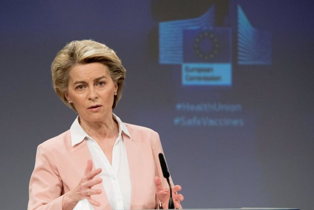 HANDOUT - 17 February 2021, Belgium, Brussels: European Commission President Ursula von Der Leyen speaks during a joint press conference on the measures taken against COVID-19 mutations, vaccine supply and distribution. Photo: Etienne Ansotte/European Com