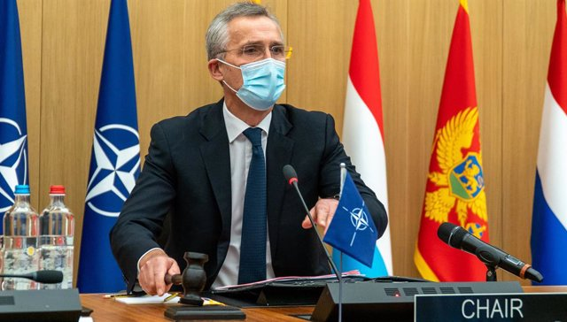 HANDOUT - 18 February 2021, Belgium, Brussels: North Atlantic Treaty Organization (NATO) Secretary-General Jens Stoltenberg chairs a meeting of NATO Defence Ministers at NATO headquarters. Photo: -/NATO/dpa - ATTENTION: editorial use only and only if the