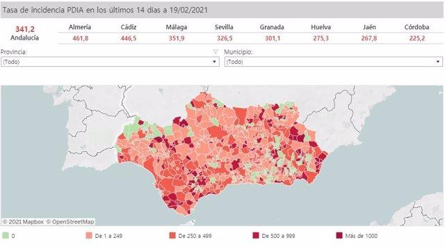 Mapa de Andalucía con incidencia del Covid-19 por municipios a 19 de febrero de 2021