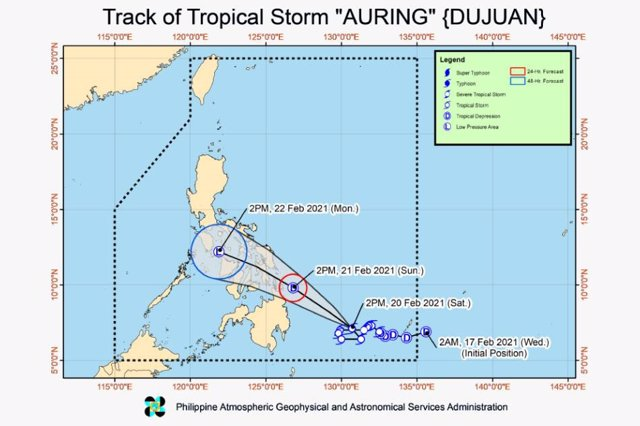 Ciclón tropical Dujuan a su llegada a Filipinas