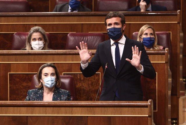 El escaño del presidente del PP, Pablo Casado, durante una sesión de control al Gobierno, en Madrid (España), a 16 de diciembre de 2020