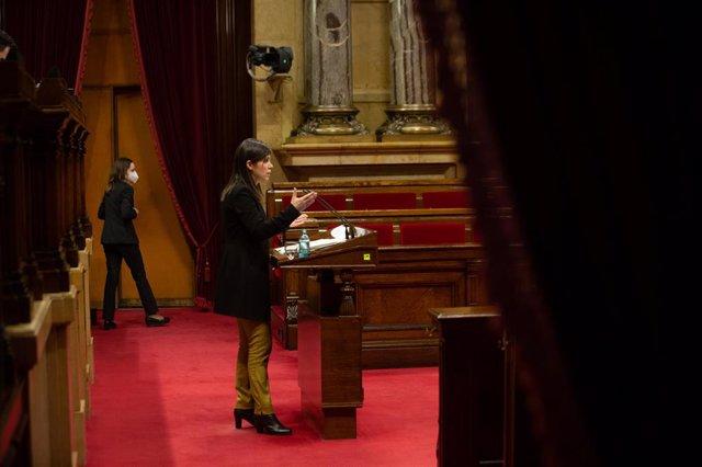 Archivo - Arxiu - La secretària general adjunta i portaveu d'ERC, Marta Vilalta, intervé durant una sessió a la Diputació Permanent del Parlament.