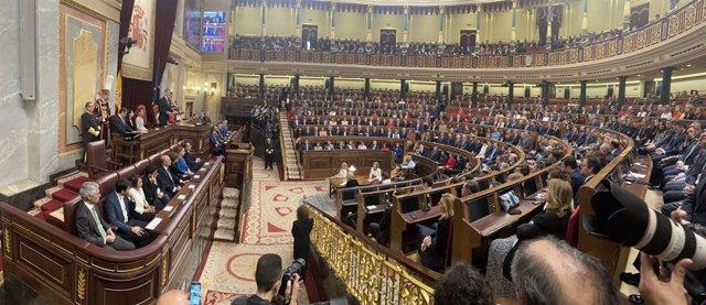Archivo - Vista general del hemiciclo del Congreso de los Diputados durante el discurso del rey Felipe VI en la Solemne Sesión de Apertura de la XIV Legislatura, en Madrid (España), a 3 de febrero de 2020.
