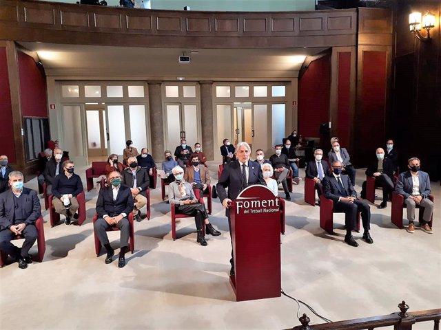 El president de Foment de Treball, Josep Sánchez Llibre, i sectors econòmics presenten un manifest contra els saquos i disturbis  en les protestes per l'empresonament del raper Pablo Hasél