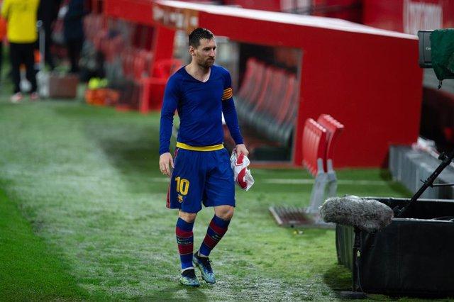 Lionel Messi of Barcelona during Semi-finals round of Copa del Rey, football match played between Sevilla Futbol Club and Futbol Club Barcelona at Ramon Sanchez Pizjuan Stadium on February 10, 2021 in Sevilla, Spain.
