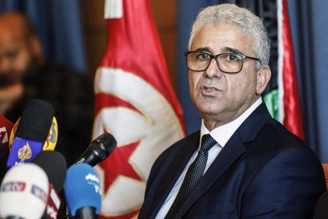 Archivo - Arxiu - Fathi Bashagha, ministre de l'Interior de Líbia, en una visita oficial a Tunísia