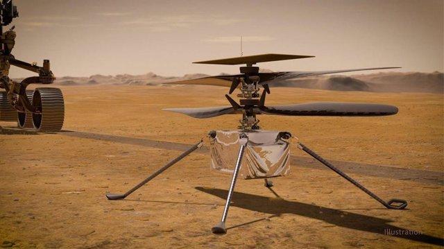 En esta ilustración, el helicóptero Ingenuity Mars de la NASA se encuentra en la superficie del Planeta Rojo como el rover Perseverance de la NASA.