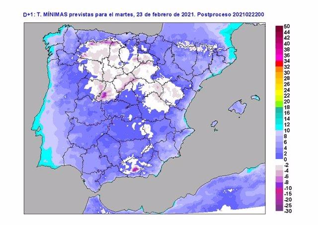 Mapa facilitado por la Aemet sobre la previsión meteorológica el martes 23 en CyL