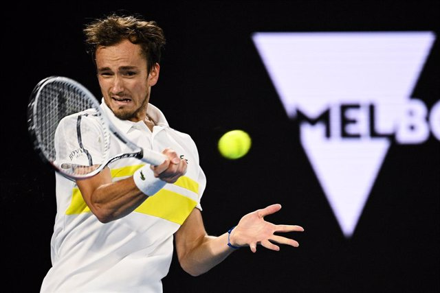 Daniil Medvedev of Russia in action during his Men's singles finals match against Novak Djokovic of Serbia on Day 14 of the Australian Open at Melbourne Park in Melbourne, Sunday, February 21, 2021. (AAP Image/Dean Lewins) NO ARCHIVING, EDITORIAL USE ONLY