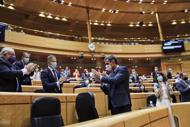 Archivo - Arxiu - El president del Govern espanyol, Pedro Sánchez, compareix al Senat. Madrid (Espanya), 8 de setembre del 2020.