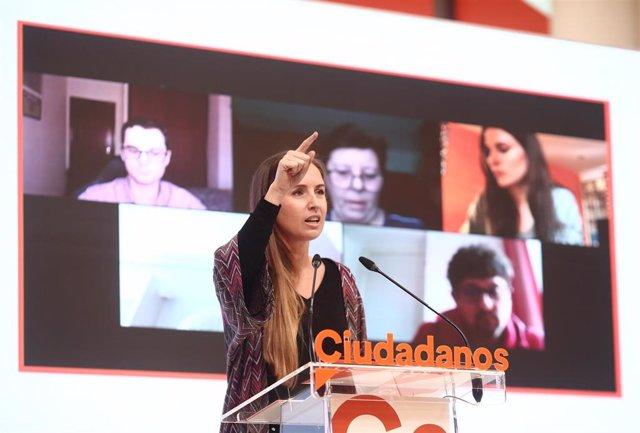 La portavoz del Comité Ejecutivo de Ciudadanos, Melisa Rodríguez, en una rueda de prensa en la sede del partido en Madrid.